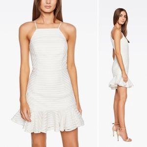 BARDOT Piper Stripe Mesh Ruffle Hem Mini Dress